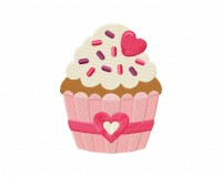 Heart Cupcake And Ribbon Stitched 5_5 Inch