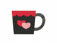 Valentine Coffee Mug Double Heart Stitched 5_5 Inch