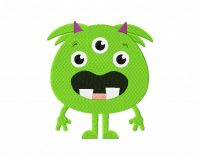 Cute Monster Green Three Eyes 5_5 inch