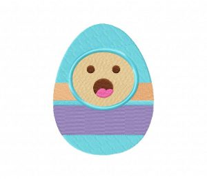Easter Egg Face Blue Stitched 5_5 Inch