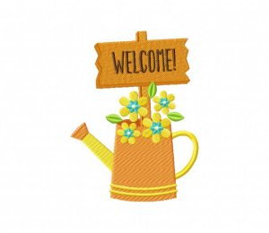 Water Can With Sign Welcome 5_5 inch