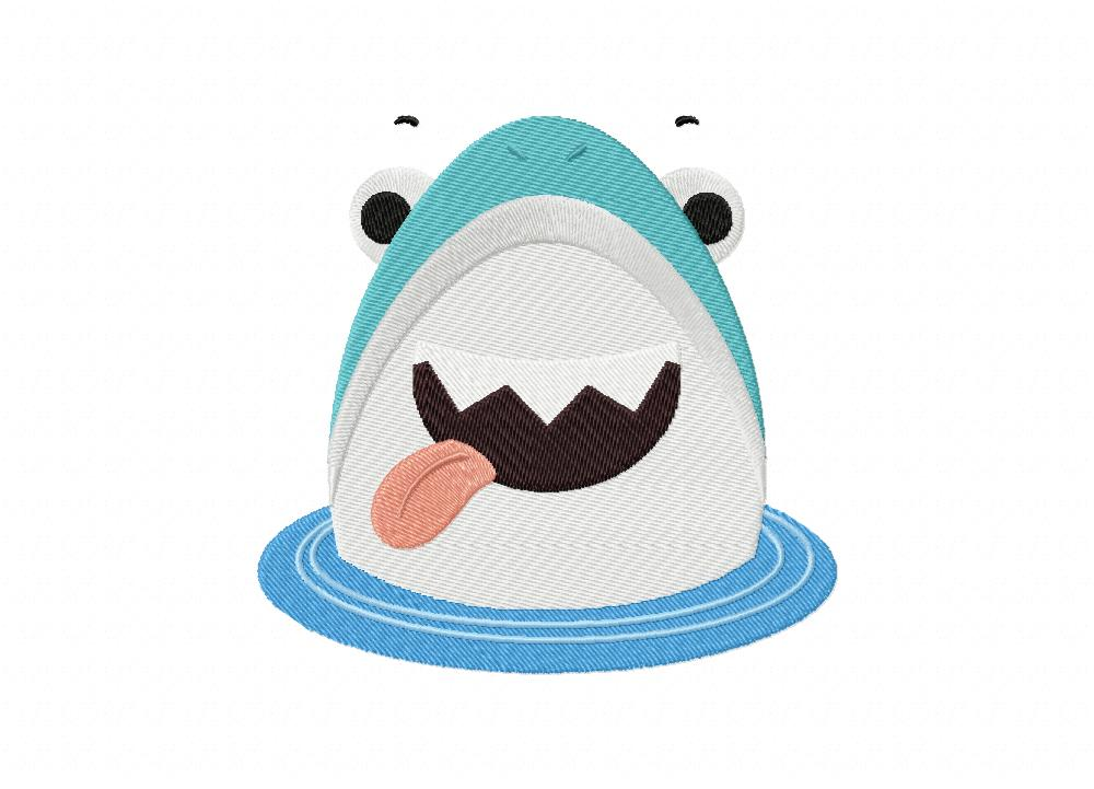 Cute shark face funny machine embroidery design daily