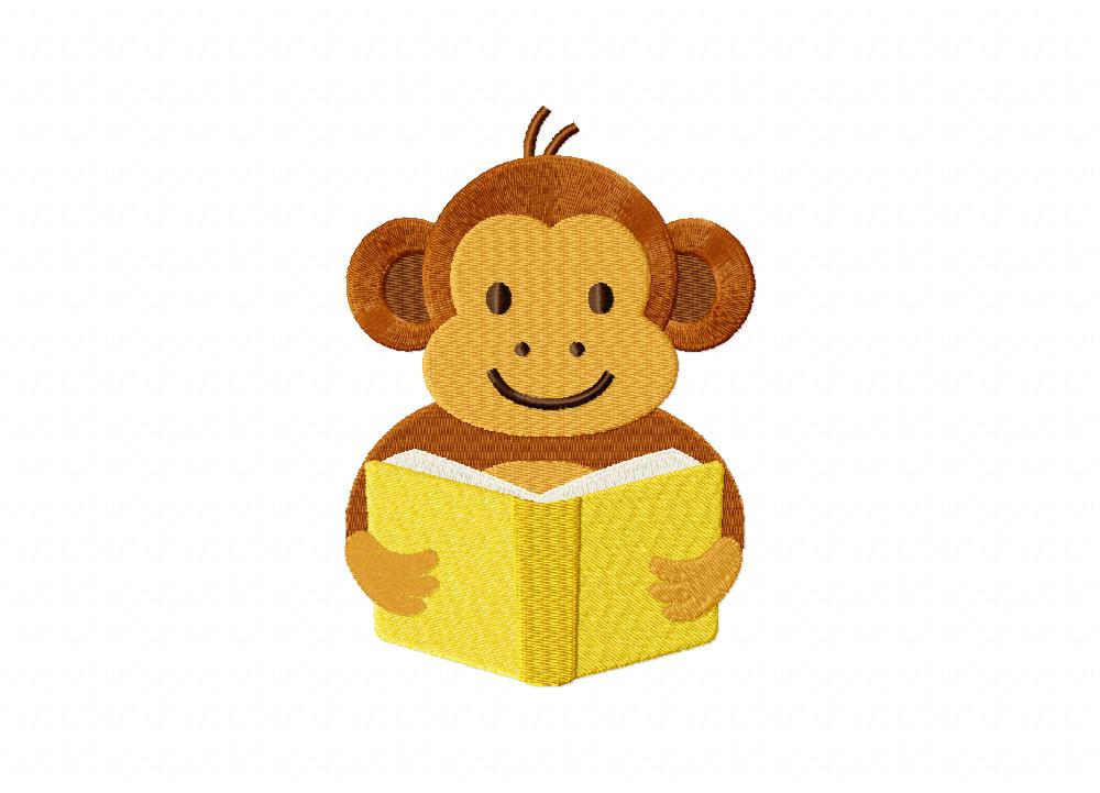 Reading Monkey Machine Embroidery Design Daily Embroidery
