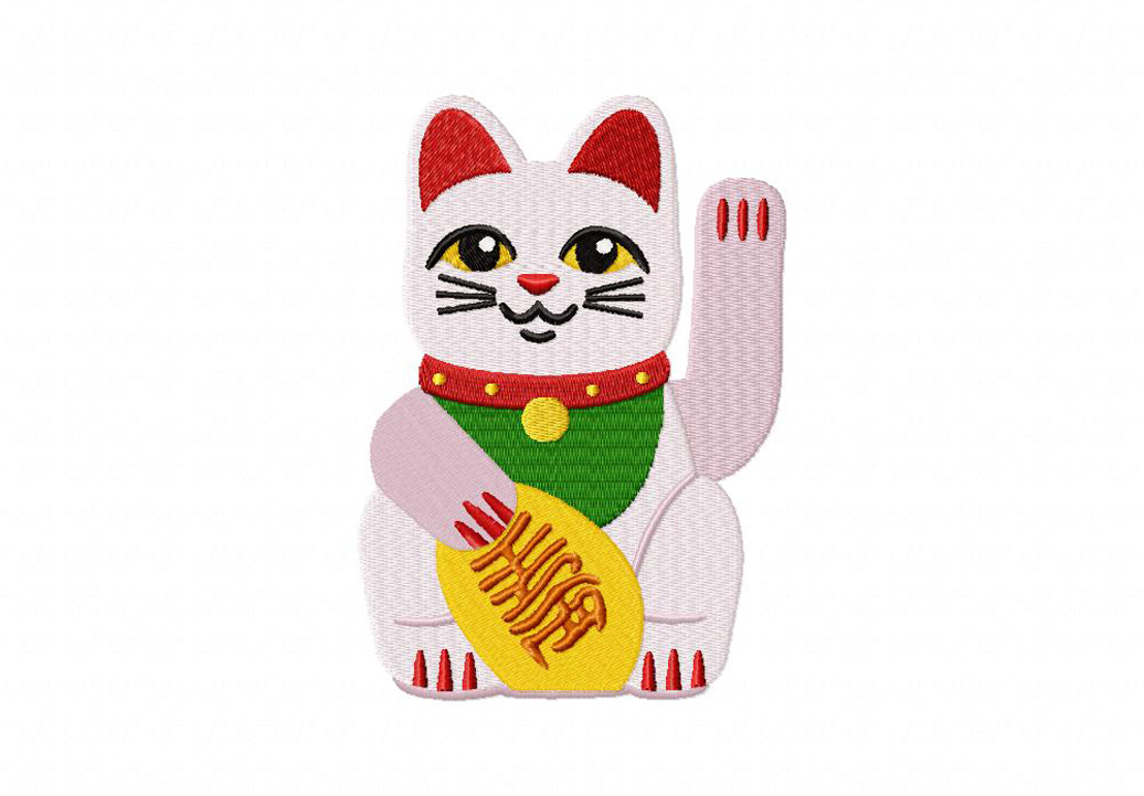 Lucky Cat Machine Embroidery Design Daily Embroidery