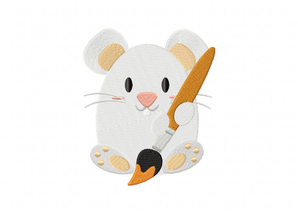 Artsy mouse machine embroidery design daily
