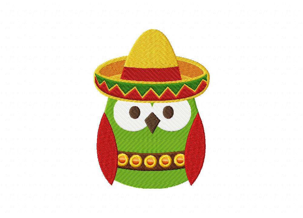 Mexican owl machine embroidery design daily