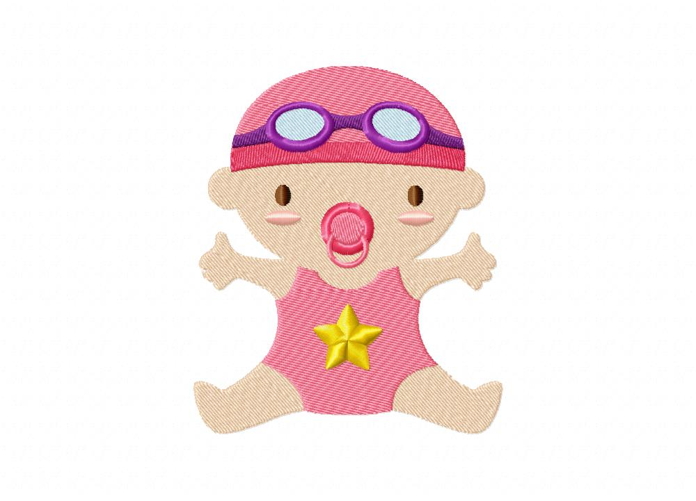 Swimming Baby Machine Embroidery Design Daily Embroidery