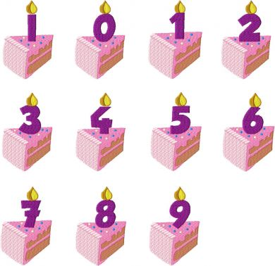 Birthday Cake Candle Numbers Set Machine Embroidery Daily Embroidery