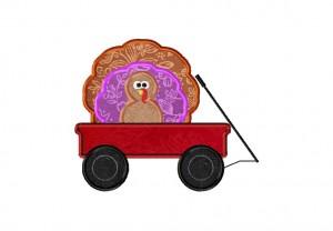 Turkey Wagon Embroidery Design