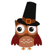 Owl Thanksgiving Embroidery Design