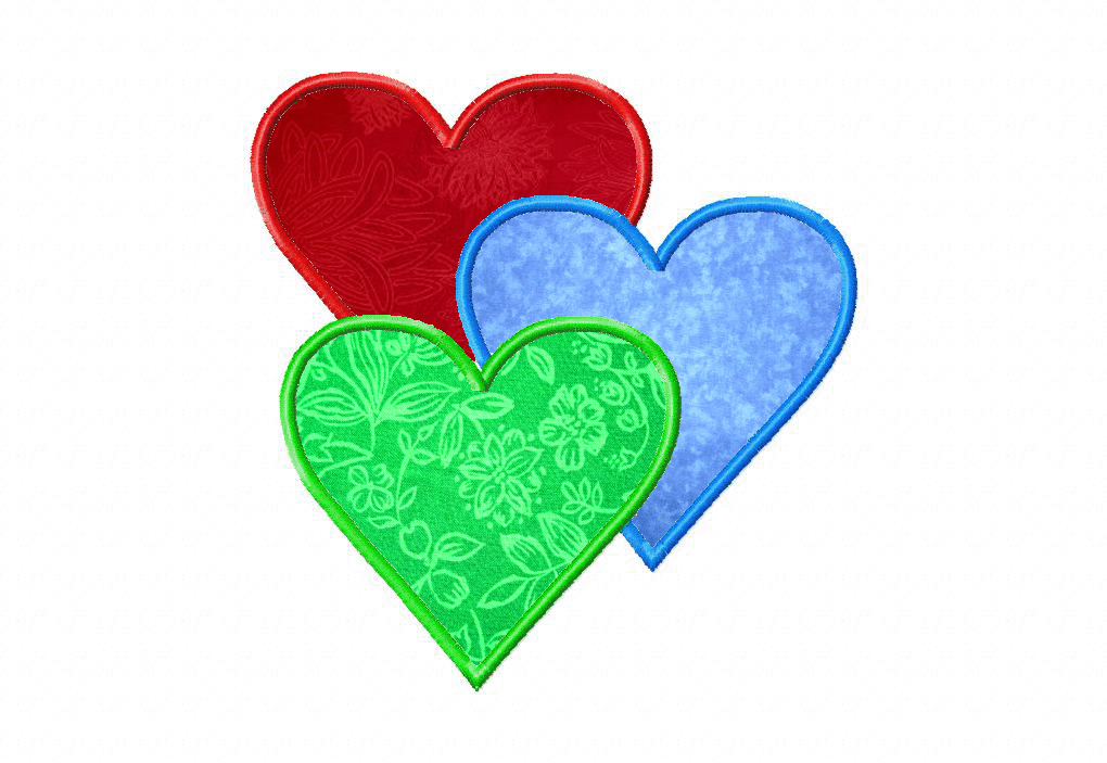 Free Three Hearts Machine Embroidery Design Includes Both