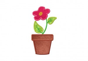 Flower Pot Applique 6 Inch