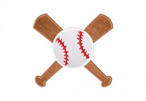 Baseball and Bats Applique 6 Inch