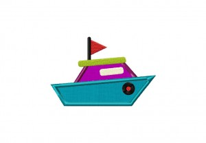 Speed Boat Applique 5_5 Inch