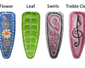 In the Hoop Barrette Cover Decorative Stitched Four Pack