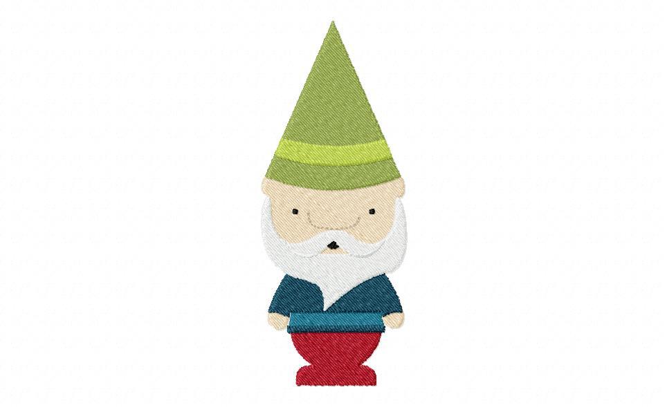 Bearded Gnome Machine Embroidery Design