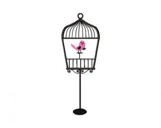 Decorative Bird in Cage Machine Embroidery Design