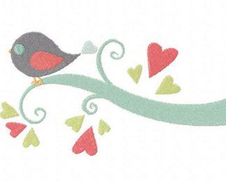 Bird on a Love Limb Machine Embroidery Design