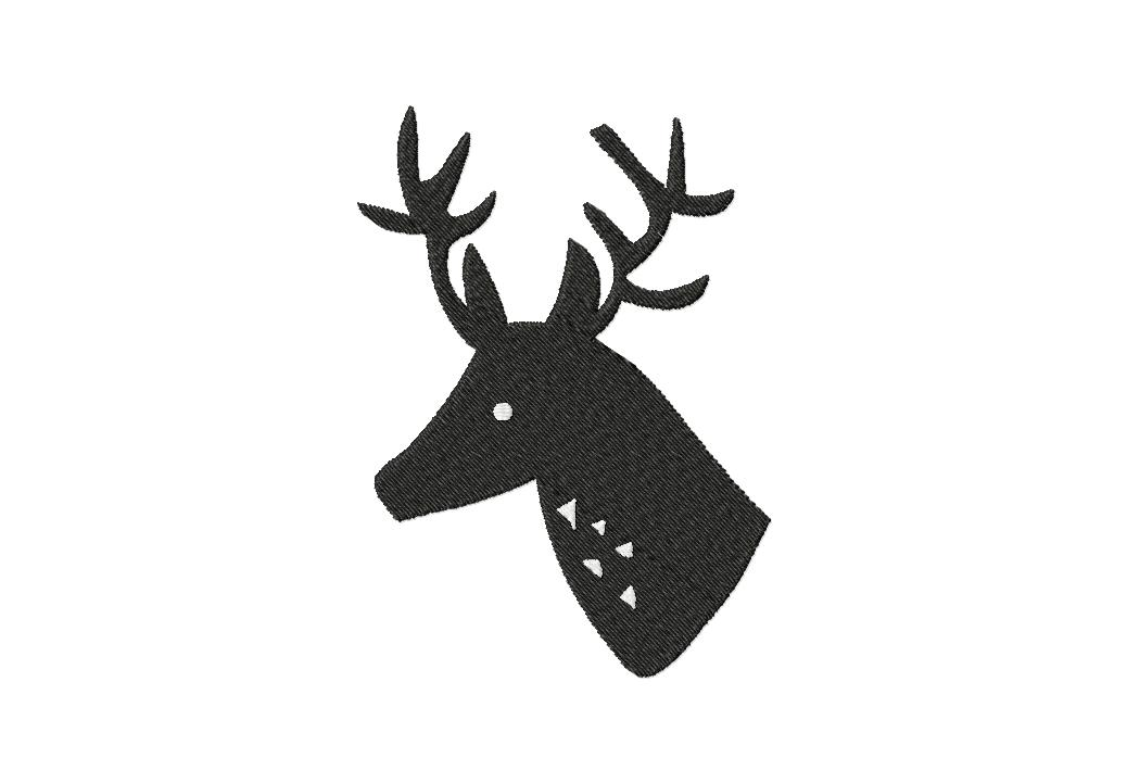 Shadow Buck Bust Machine Embroidery Design