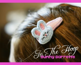 Easy In The Hoop Easter Bunny Barrette Cover Feltie Machine Embroidery Design