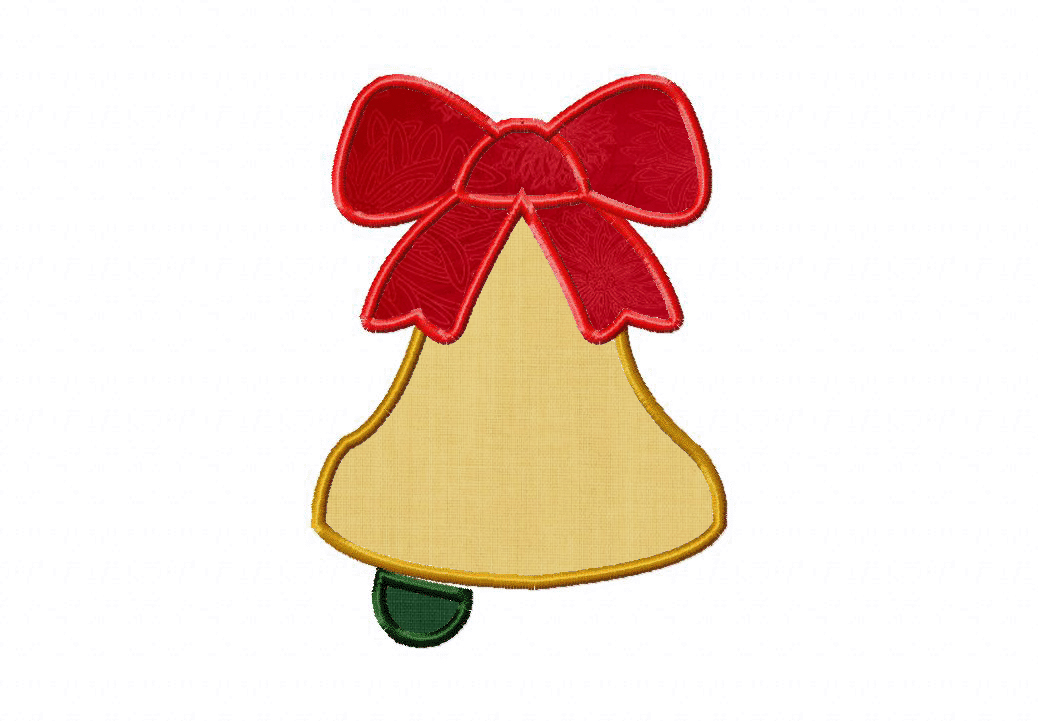 Christmas Bell Machine Embroidery Applique