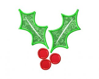 Christmas Holly Machine Embroidery Design Includes Both Applique and Fill Stitch