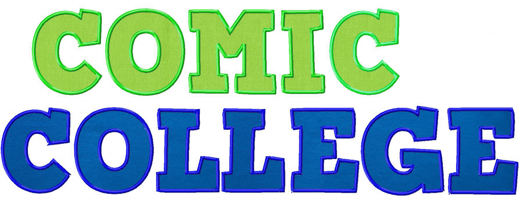 Comic College Applique Machine Embroidery Font Set in Three Sizes