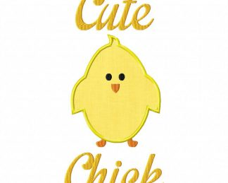 Cute Chick Machine Embroidery Design Includes Both Applique and Filled Stitch