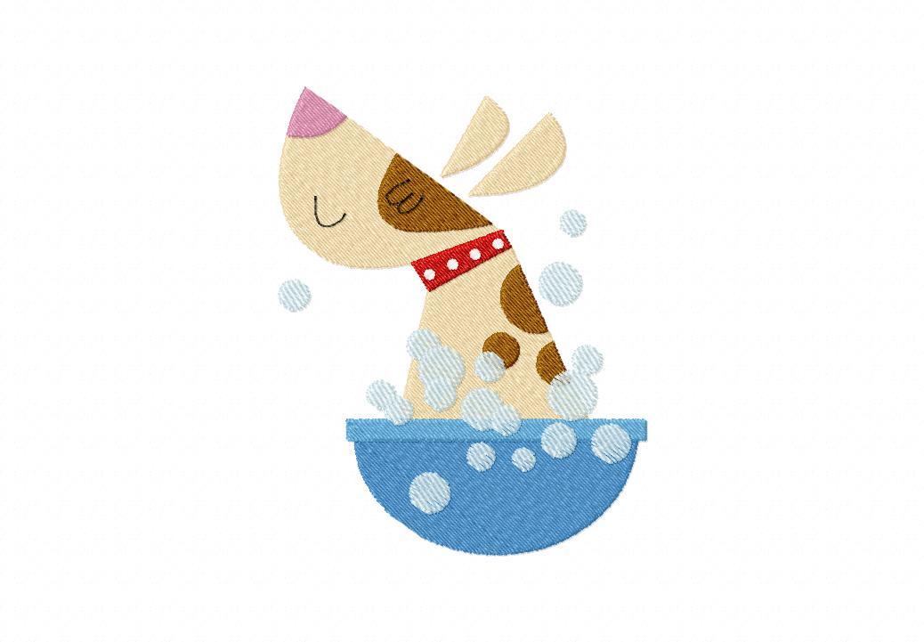 Dog Bath Machine Embroidery Design