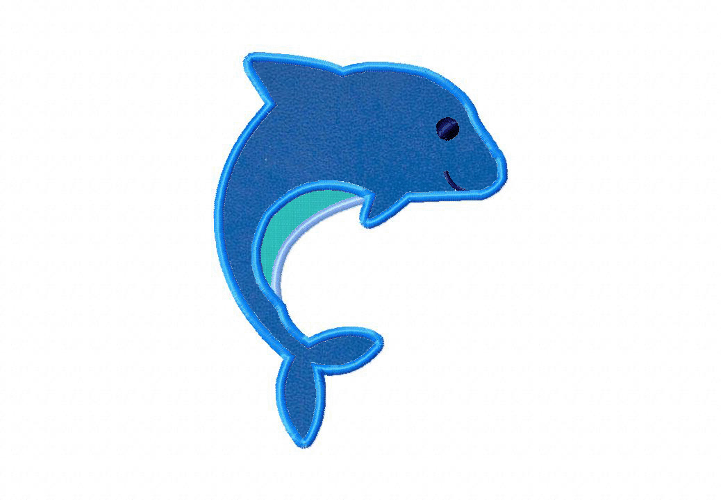 Dolphin Dance Machine Embroidery Includes Both Applique and Fill Stitch
