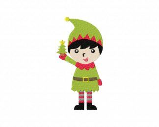 Elf with Tree Machine Embroidery Design