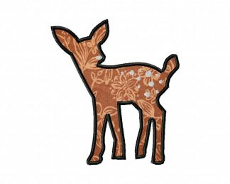 Fawn Embroidery Design Includes Both Applique and Fill Stitch