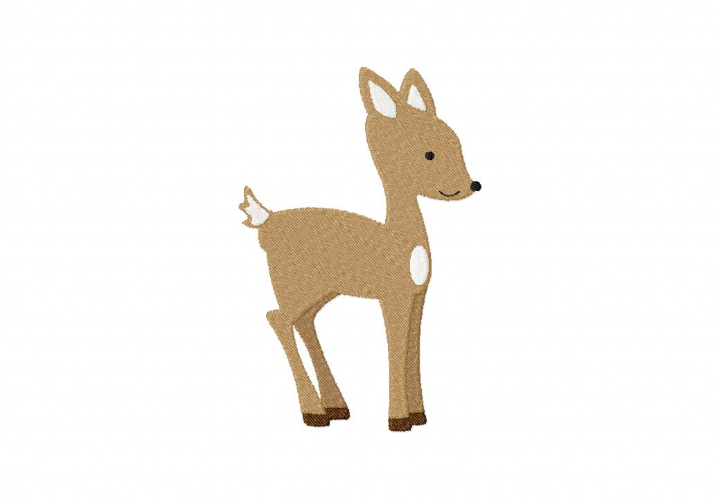 Forest Fawn Machine Embroidery Includes Both Applique and Filled Stitch