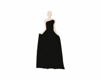 Formal Gown Silhouette Machine Embroidery Design