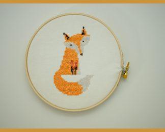 Machine Embroidery Fox in Cross Stitch Style Design