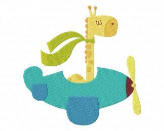 Giraffe in Plane Machine Embroidery Design