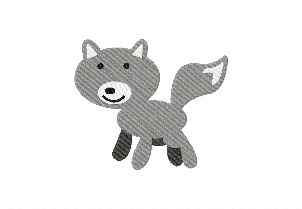 Grey Fox Machine Embroidery Design Includes Both Applique and Filled Stitch