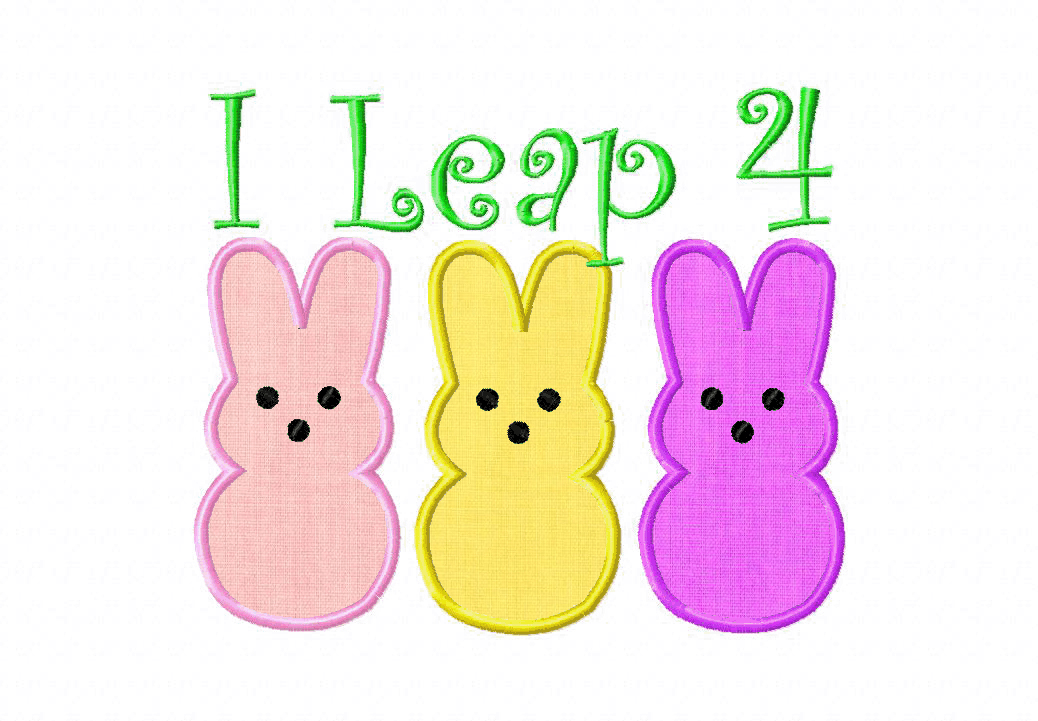 I Leap For Easter Candy Machine Embroidery Design Includes Both Applique and Filled Stitch