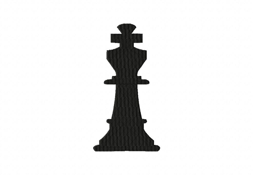 Chess King Machine Embroidery Design Includes Both Applique and Filled Stitch
