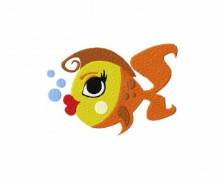Lady Fish Machine Embroidery Design