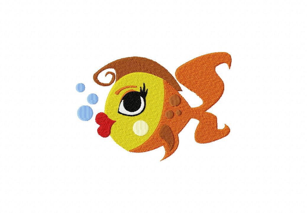 Lady Fish Machine Embroidery Design