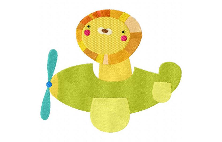 Lion in Plane Machine Embroidery Design