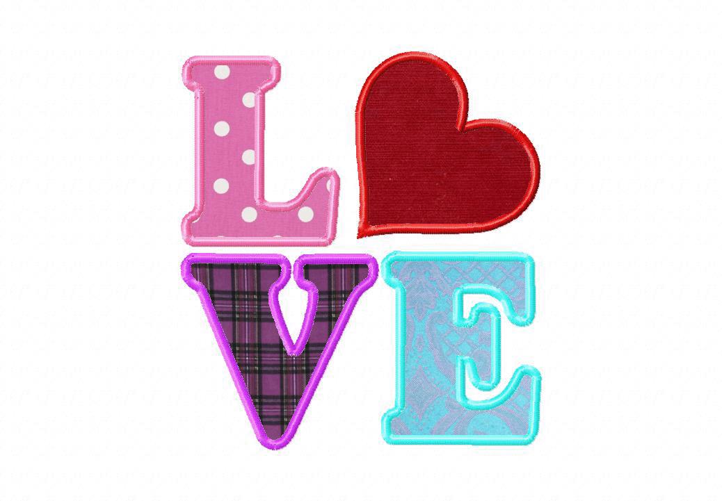 Love Machine Embroidery Design Includes Both Applique and Fill Stitch