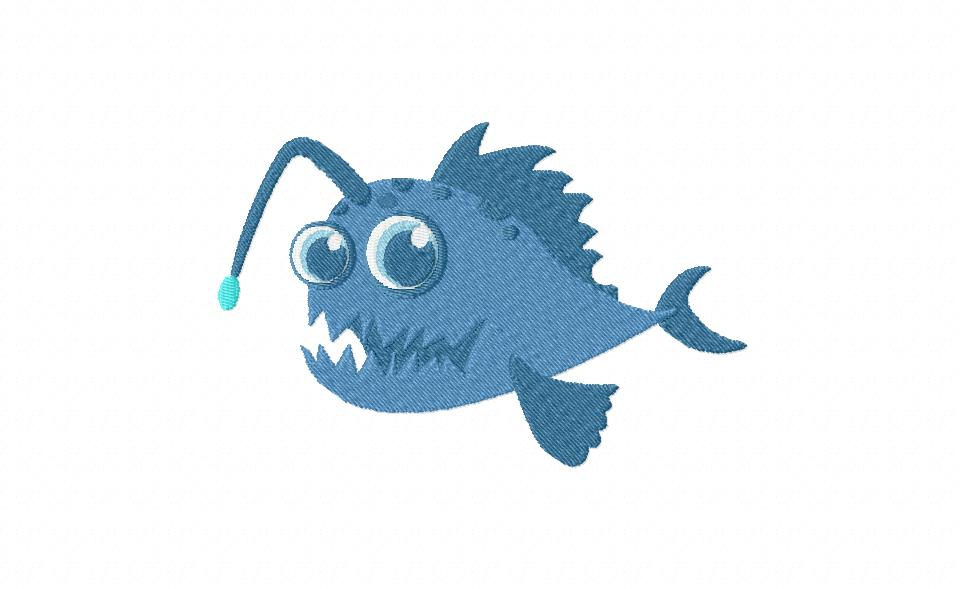 Monster Anglerfish Machine Embroidery Design