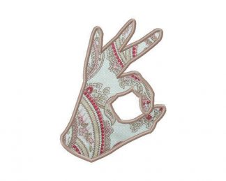OK Hand Sign Machine Embroidery Design Includes Both Applique and Fill Stitch