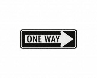 One Way Sign Machine Embroidery Design