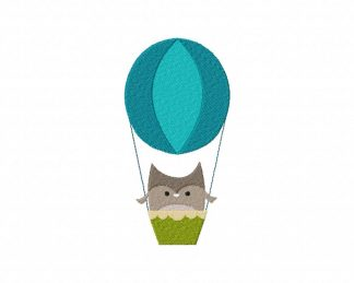 Hot Air Balloon Owl Machine Embroidery Design