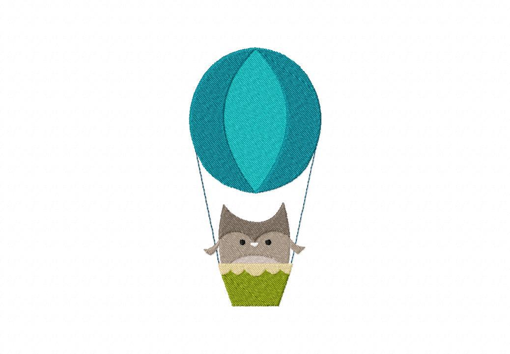 Hot Air Balloon Owl Machine Embroidery Design