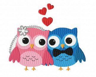 Owls In Love Machine Embroidery Design