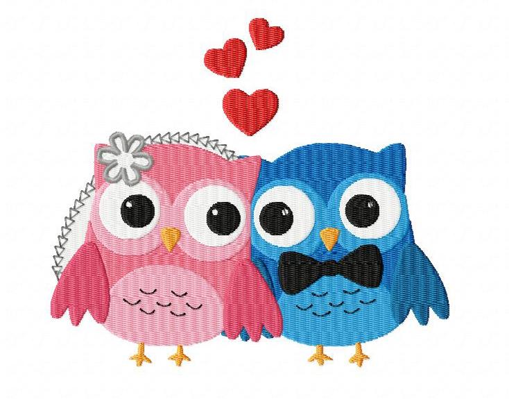 Owls In Love Machine Embroidery Design